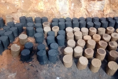 Finished charcoal briquettes