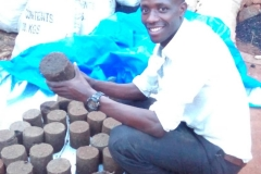 Finished dried charcoal briquettes