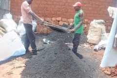 The charcoal material is sieved